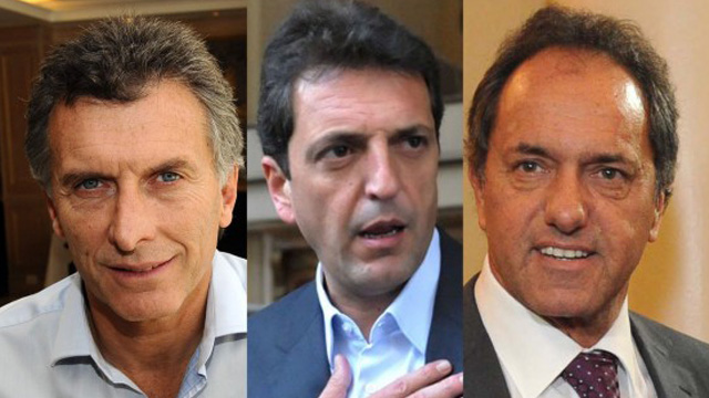 Mauricio Macri, Sergio Massa y Daniel Scioli